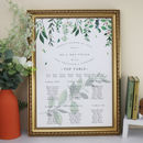 Green And White Botanical Wedding Table Plan