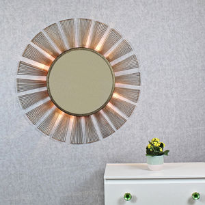 Harmonia Antique Copper Sunburst Rays Light Wall Mirror