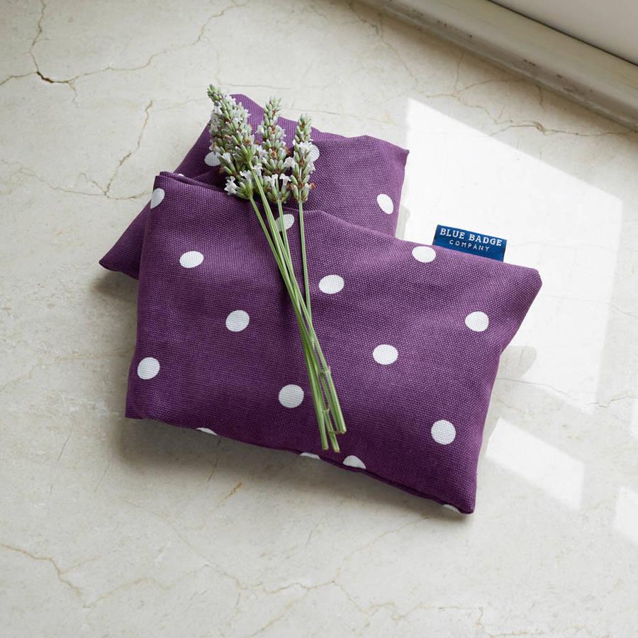 Microwavable Lavender Wheat Heat Pack Purple Polka Dot