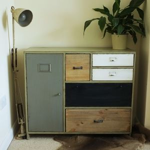 Industrial Wood And Metal Framed Cabinet - kitchen