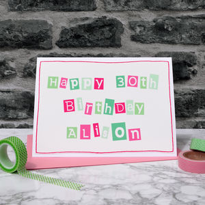 Personalised Girls 30th Birthday Card