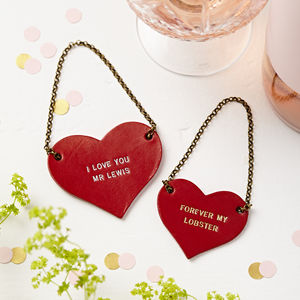 Personalised Leather Couples Bottle Tag