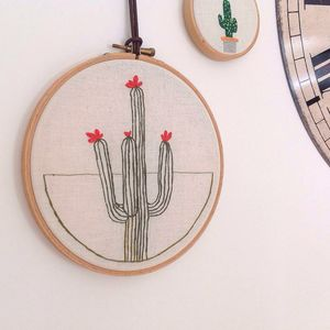 Cactus Plant Geometric Embroidered Wall Hoop