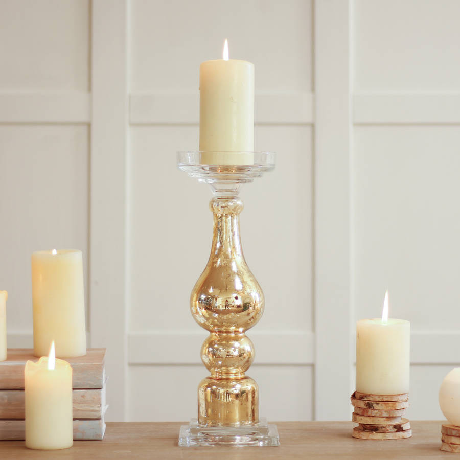 freestanding crackle gold pillar candle holder by dibor