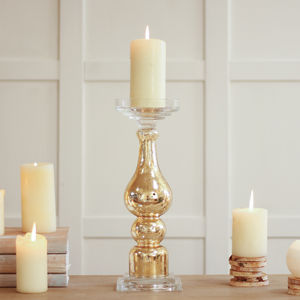 Freestanding Crackle Gold Pillar Candle Holder