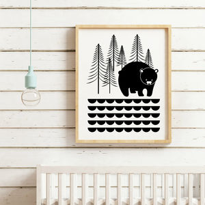 Bear In Woods Print