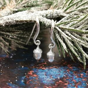 Acorn Drop Solid Silver Hook Earrings