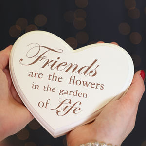 'Friends Are Flowers' Hanging Heart Plaque