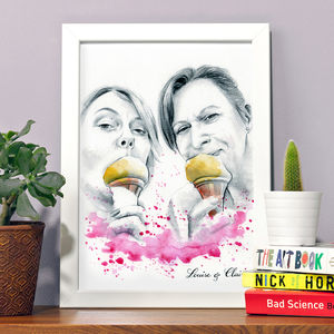 Best Friends Portrait Painting - new in prints & art