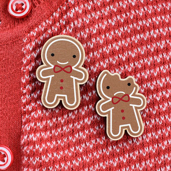 Kawaii Gingerbread Man Wooden Brooches