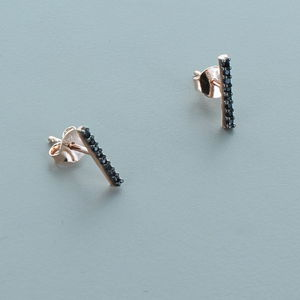 Black Zircon Rose Gold Bar Earrings - stylish studs