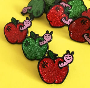 Apple And Worm Glitter Enamel Pin - pins & brooches
