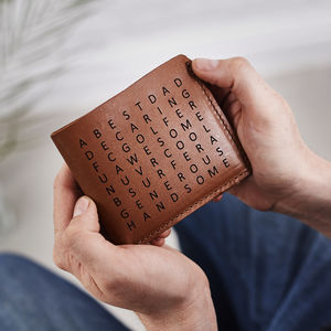 Personalised Word Search Leather Wallet - gifts for fathers
