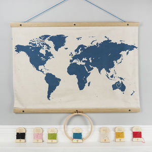 Diy Embroidery Map Of The World Silhouette Wall Hanging - textile art