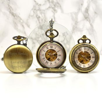 Bronze Personalised Pocket Watch With Magnifying Lid