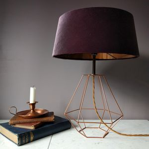 Mauve Velvet Deco Lamp - dining room
