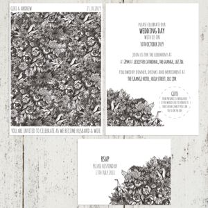 Grayscale Etched Floral Wedding Stationery Set - view all new