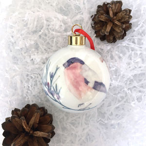Bullfinch Bone China Christmas Bauble - christmas decorations