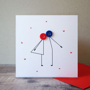 Kissing Couple Button Card - anniversary cards