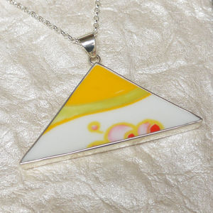 Clarice Cliff Sterling Silver Pendant Large