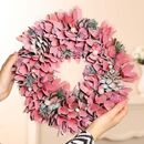 Winter Sparkle Pink Door Wreath