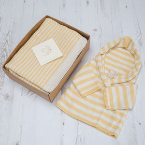 Unisex Yellow Stripy Hoodie And Blanket Gift Set