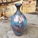Large Hand Crafted Aqua Green Raku Bottle