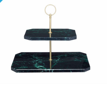 Marble And Brass Two Tier Stand