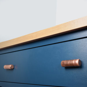 Chunky Copper Knob With Ridging Detail - door knobs & handles