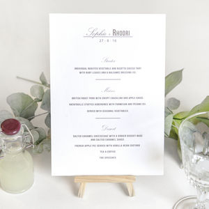 Traditional Style Wedding Menu Cards / Stone Grey