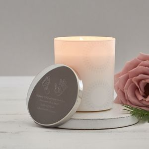 Engraved Hand Or Foot Print Scented Christmas Candle - candles & home fragrance