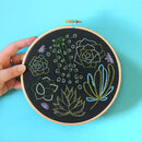 Black Succulents Contemporary Embroidery Kit