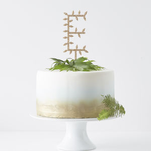 Personalised Botanical Letter Cake Topper - cake decoration