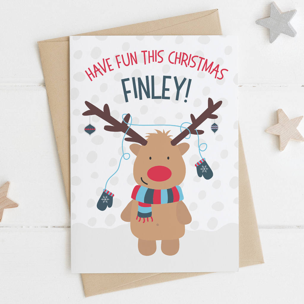 Cute Reindeer Christmas Card For Children By Wink Design