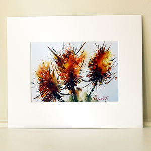 Autumn Print, Teasels Three