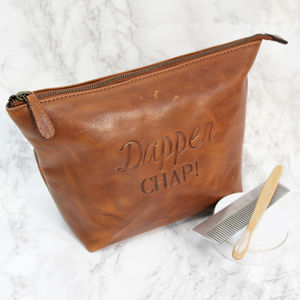 Dapper Chap Leather Wash Bag - make-up & wash bags