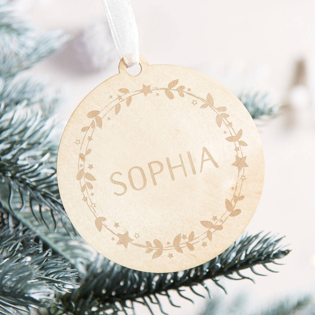 Personalised Wooden Christmas Bauble By Norma Dorothy