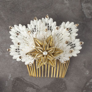 Persephone Lace And Gold Bridal Haircomb