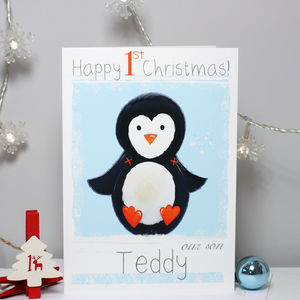 Personalised Penguin Baby 1st Christmas Card