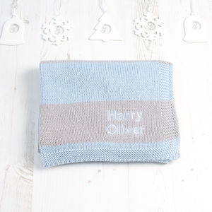 Baby Boys Personalised Stripy Blanket - blankets, comforters & throws