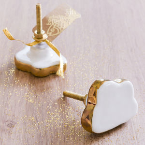 Cloud Shape Knob With Gold Rim - door knobs & handles