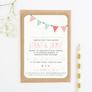 Bright Burlap With Bunting Evening Invitation - invitations
