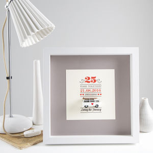 Mini Camper Van Wedding Anniversary Box Frame - mixed media & collage