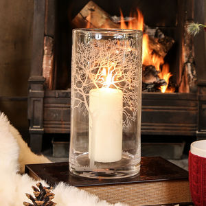Glass Tree Etched Hurricane Candle Holder