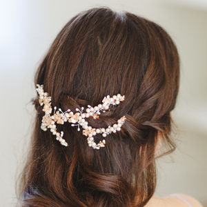 Clara Rose Gold Bridal Hair Vine - spring wedding styling