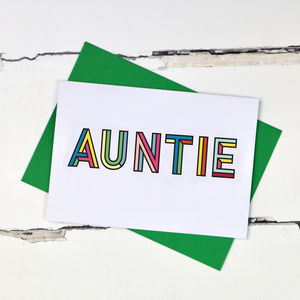 Auntie Colourful Typographic Card