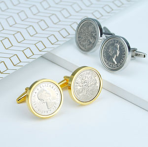 Luxury Sixpence Year Coin Cufflinks 1947 1967 - fashion sale