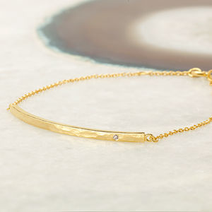 18ct Gold Vermeil Boho Diamond Bar Bracelet