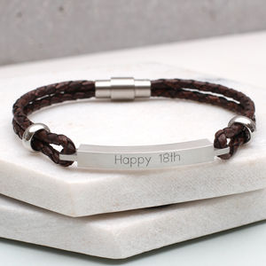 Personalised Men's Slim Leather Identity Bracelet - bracelets