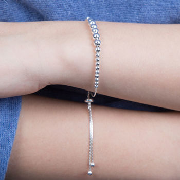 Silver Adjustable Ball Bracelet